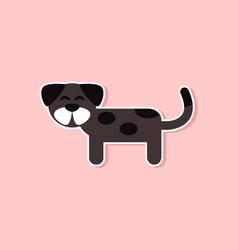 Paper sticker on stylish background pet dog vector