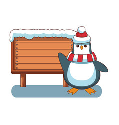 penguin and wooden sign vector image
