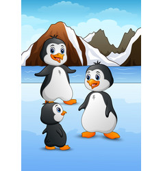 penguin family standing on icy landscape vector image