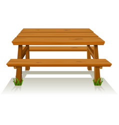 Picnic wood table vector