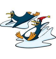 playful penguins vector image