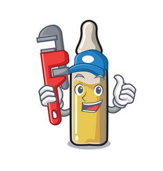 Plumber ampoule mascot cartoon style vector