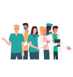portrait doctors and nurses characters set vector image