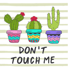 poster with fun cacti vector image