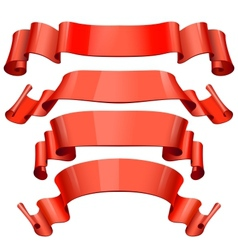 Red Glossy ribbons on a white background for your vector