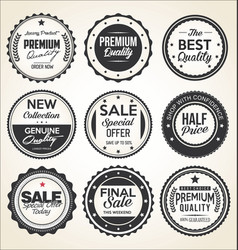 retro vintage badges and labels black and white vector image