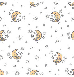Seamless pattern with a cute moon and stars vector