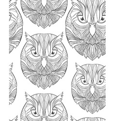 Seamless pattern with sketch owl in boho style vector image