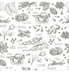 Seamless pattern with spices on a white background vector