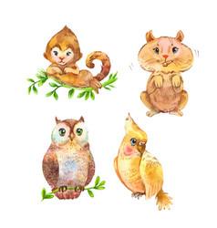 set fluffy wild animals cute unusual pets vector image