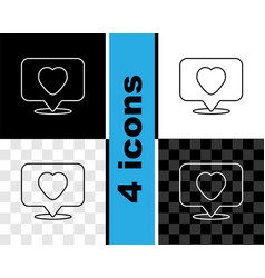 Set line like and heart icon isolated on black vector