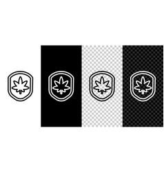 set line shield and marijuana or cannabis leaf vector image