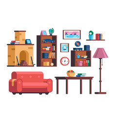 Set living room interior furniture collection vector