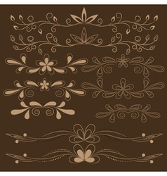 set of brown floral design elements vector image