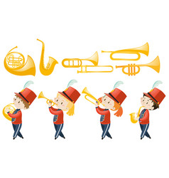 Set of children playing musical instruments vector