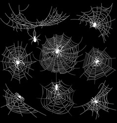 Set spider web different shapes with white vector