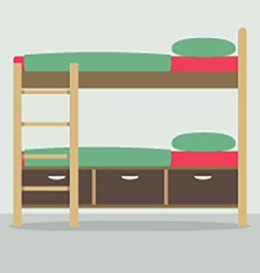 Side View Of Bunk Bed On Floor vector image