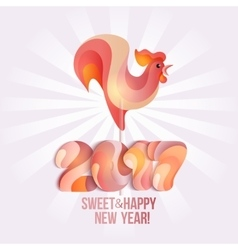 Sign New Year 2017 rooster in shape of candy on vector image