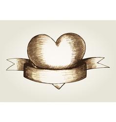 Sketch of a heart emblem vector image