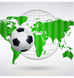 Soccer ball on the background of the world map vector