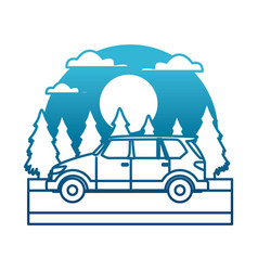 suv sport vehicle in the forest vector image