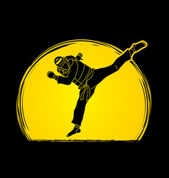 taekwondo jump kick action with guard equipment vector image