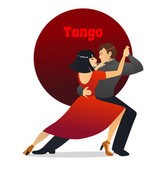 Tango dancing couple in cartoon style vector