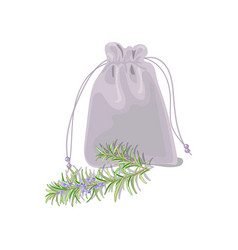 Textile sachet with herbs vector