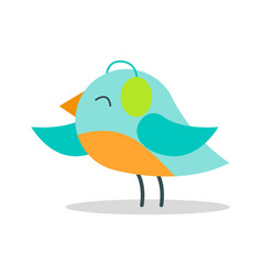 Tiny bird with blue plumage in warm earpieces vector