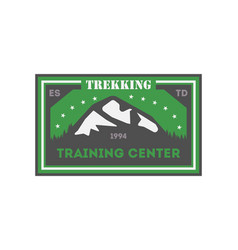 Trekking training centre vintage isolated badge vector