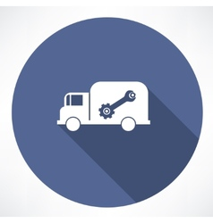 truck with wrench and nut icon vector image