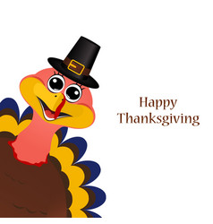 Turkey in hat on Thanksgiving Day vector image