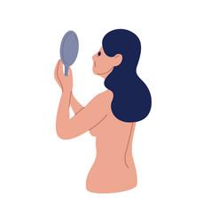 Upset naked woman looking at mirror vector