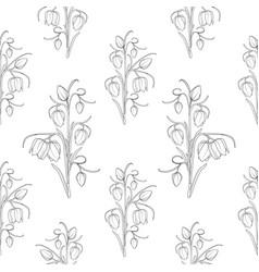 wild tulip flowers stem leaves seamless pattern vector image