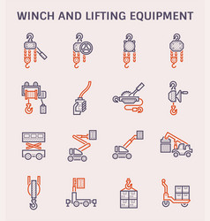 Winch lifting icon vector