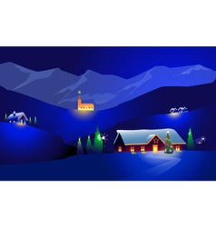 Winter Landscape and happy Chrirstmas vector image