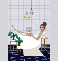 woman is taking a bath relaxation vector image