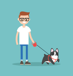 young smiling nerd walking the dog flat editable vector image