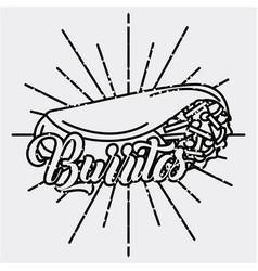 burritos mexican food traditional delicious retro vector image