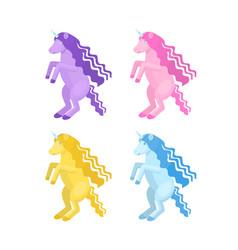 cartoon unicorn set vector image vector image