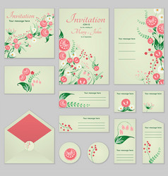collection greeting cards with stylized roses and vector image vector image