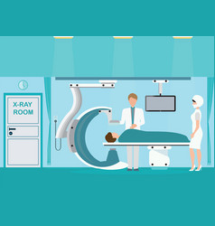 doctor and patient at operating room with xray vector image vector image