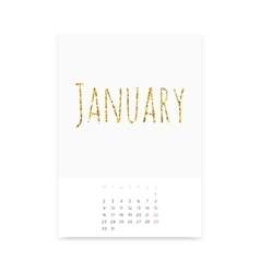 January 2017 Calendar Page vector image vector image