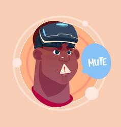 man mute african american male emoji wearing 3d vector image vector image