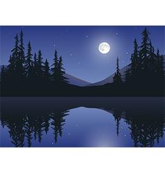 Moon Over Calm Lake vector image vector image