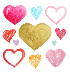 Set of colored hearts in different shapes and vector