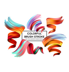 set of colorful brush strokes modern design vector image vector image