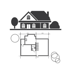 technical draw house vector image