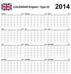Calendar 2014 English Type 22 vector image vector image