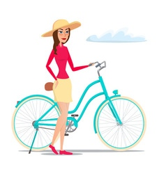 Girl on bike isolated on white background in flat vector